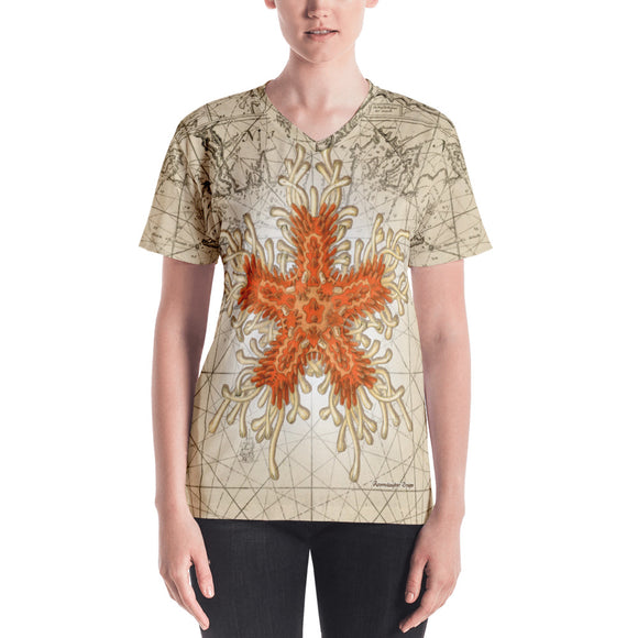 Vintage Orange Starfish Nautical Women's All-Over V-Neck Tee