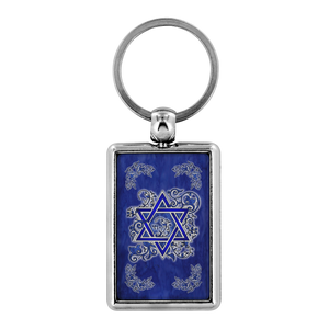 Denim Flower Star of David Keychain