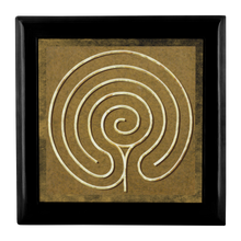 Load image into Gallery viewer, Chakra Vyuha Labyrinth Jewelry Box in Red Mahogany, Golden Oak, or Ebony Black