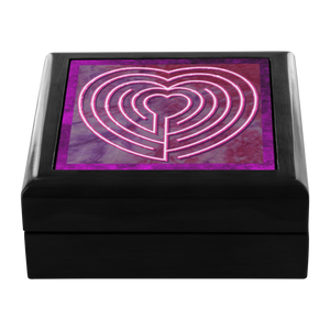 Heart Labyrinth Jewelry Box in Red Mahogany, Golden Oak, or Ebony Black