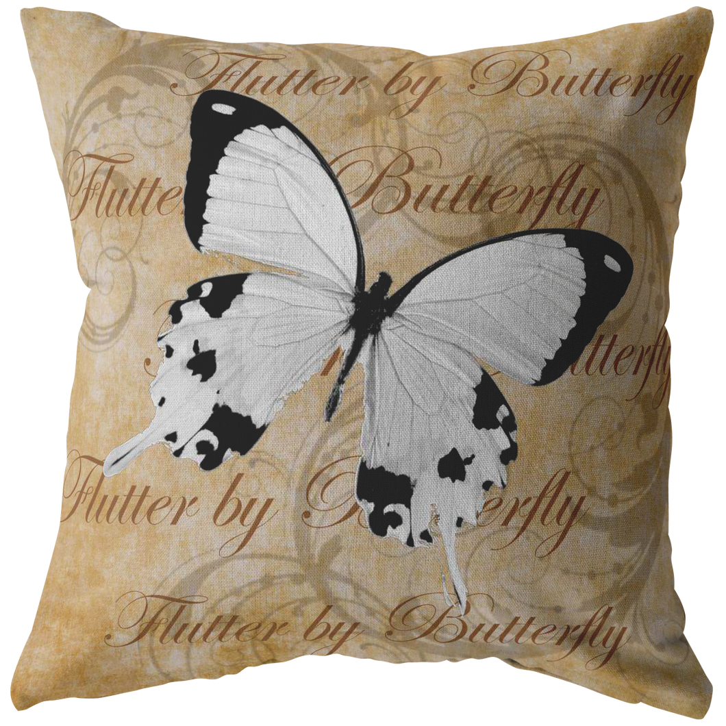White Butterfly Nature Digital Collage Throw Pillow