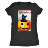 A Merry Halloween Cat in Pumpkin Women's Tri-Blend T-Shirt