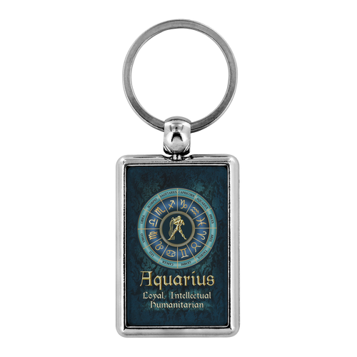 Blue Zodiac Aquarius Astrology Keychain