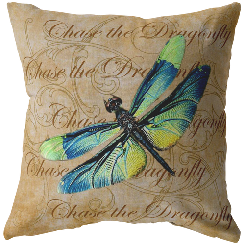 Blue and Green Dragonfly Nature Digital Collage Throw Pillow