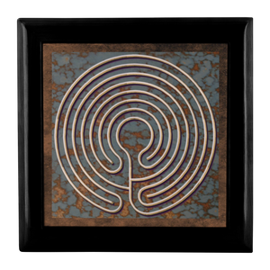 Knidos Labyrinth Jewelry Box in Red Mahogany, Golden Oak, or Ebony Black