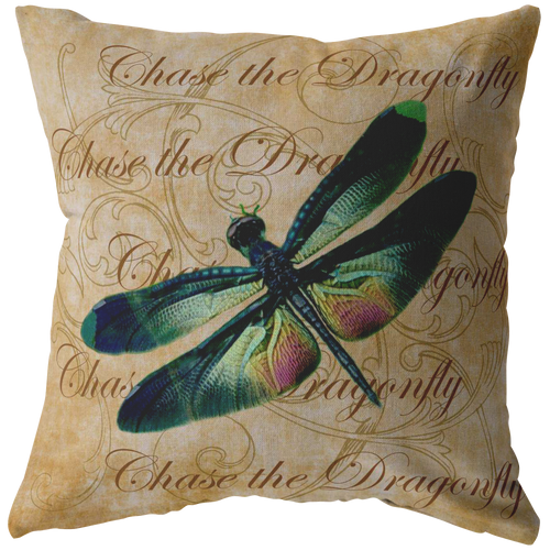 Green and Pink Dragonfly Nature Digital Collage Throw Pillow
