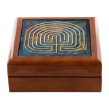 7-Circuit Seed Labyrinth Jewelry Box in Red Mahogany, Golden Oak, or Ebony Black