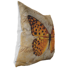 Load image into Gallery viewer, Orange Butterfly Nature Digital Collage Throw Pillow