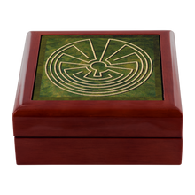 Load image into Gallery viewer, Native American Labyrinth Jewelry Box in Red Mahogany, Golden Oak, or Ebony Black