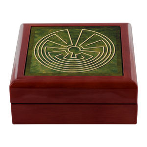 Native American Labyrinth Jewelry Box in Red Mahogany, Golden Oak, or Ebony Black