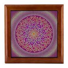 Load image into Gallery viewer, Celtic Art Burst in Sangria Jewelry Box - Red Mahogany, Golden Oak, or Ebony Black