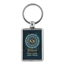 Load image into Gallery viewer, Blue Zodiac Pisces Astrology Keychain