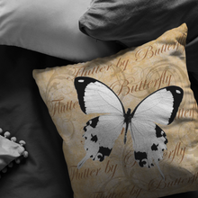 Load image into Gallery viewer, White Butterfly Nature Digital Collage Throw Pillow
