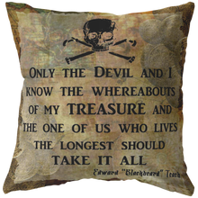 Load image into Gallery viewer, Blackbeard Treasure Quote Nautical Pirate Throw Pillow