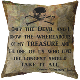 Blackbeard Treasure Quote Nautical Pirate Throw Pillow