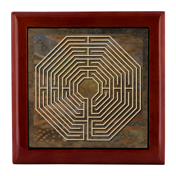 Amiens Cathedral Labyrinth Jewelry Box in Red Mahogany, Golden Oak, or Ebony Black