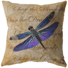 Load image into Gallery viewer, Purple Dragonfly Nature Digital Collage Throw Pillow