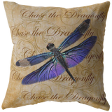 Purple Dragonfly Nature Digital Collage Throw Pillow