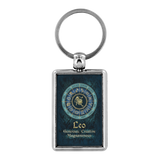 Blue Zodiac Leo Astrology Keychain