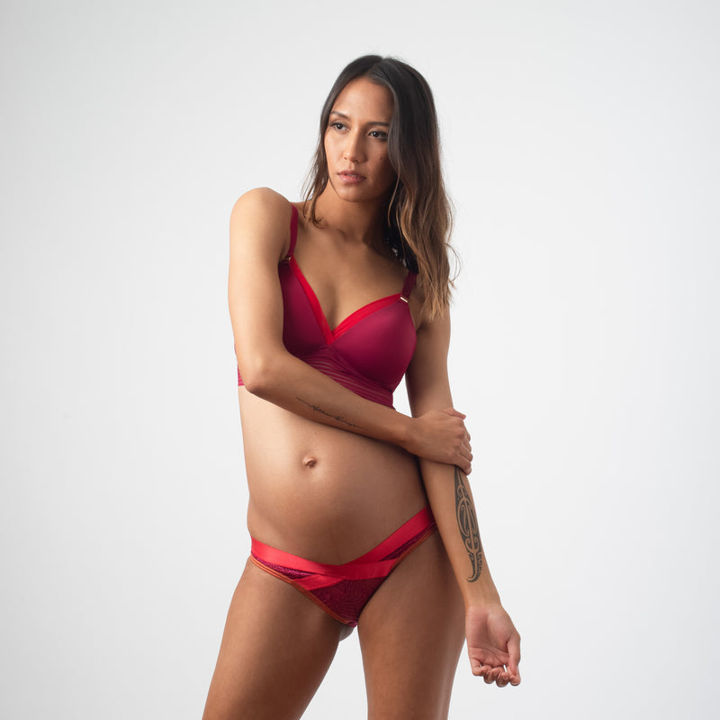 ambition triangie projectme breastfeeding nursing bra sangria WITH Warrior bikini
