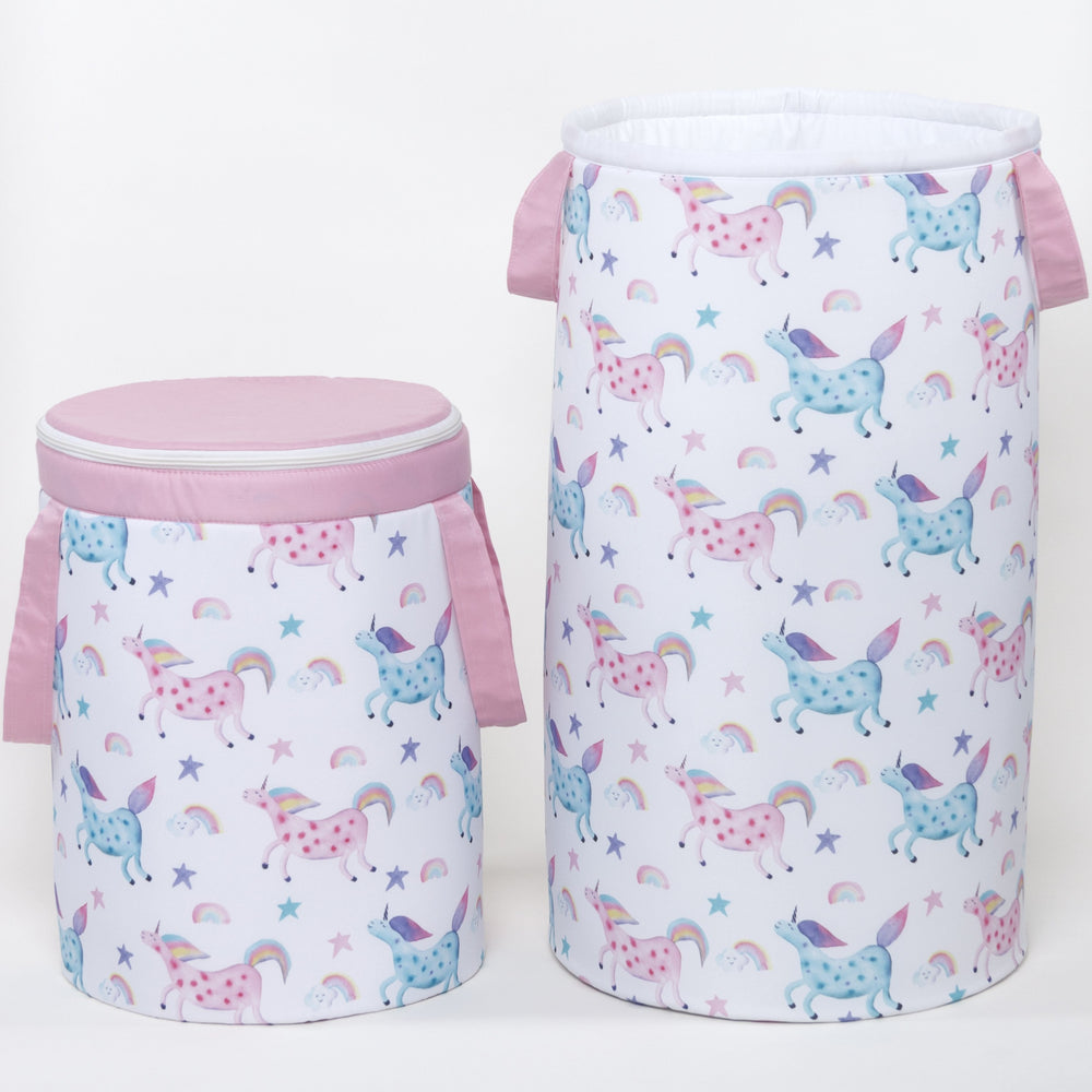 Toy storage basket with unicorn pattern