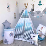 Happy Spaces teepee, blue teepee, chevron tent, tent for kuds, tent for boys, tent for girls