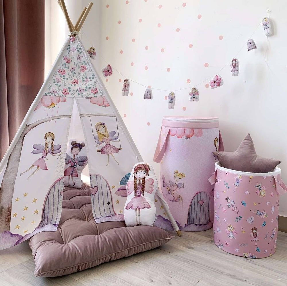 childrens teepee with fairy, wigwam with fairies, pink play tent  for girl, ash pink girls room design idea