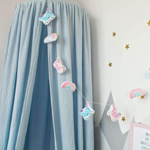 Muslin sky blue canopy, children's room with canopy, canopy for girls room, unicorn bedroom accessories