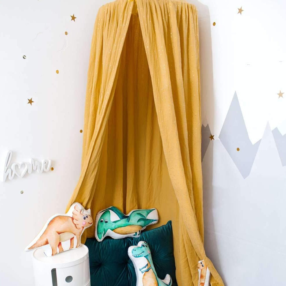 Mustard muslin canopy, baby room decor with canopy, mustard canopy, dinosaur bedroom accessories