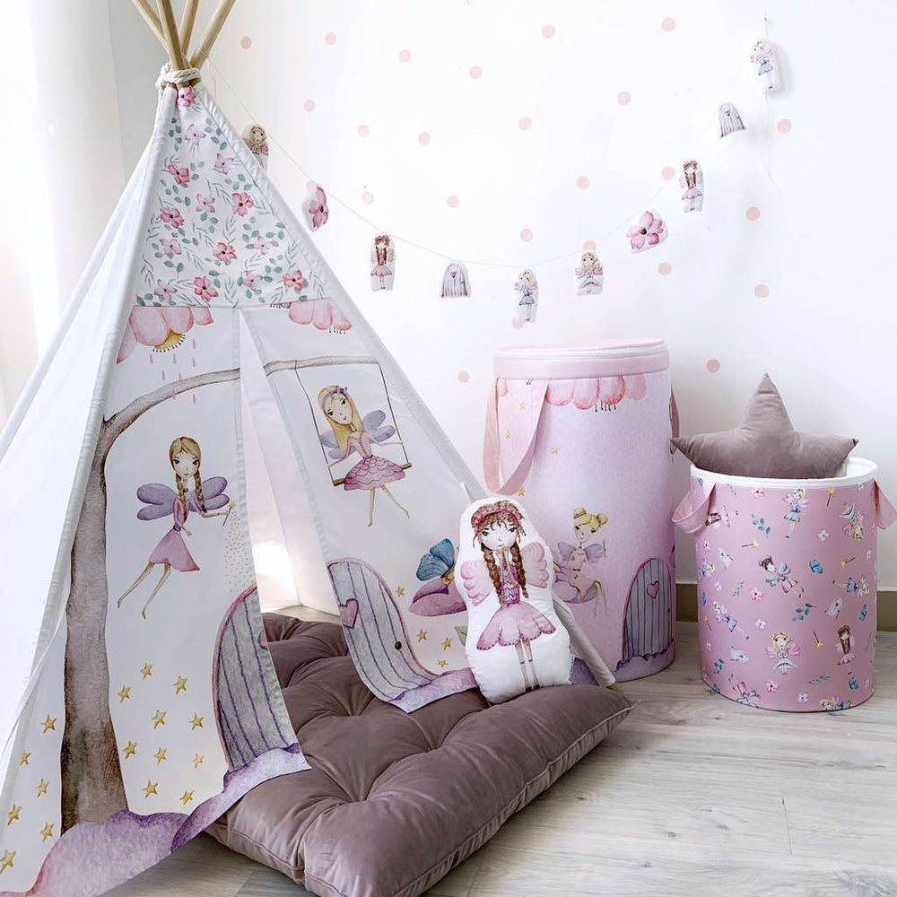 indoor tent with flowers, magical teepee, tent house for kids, girls play tent