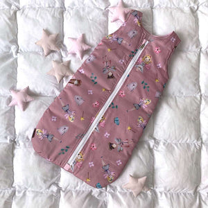 sleeping bag with princess, swaddle sack with princess, sleeping bag with flowers, swaddle sack with fairies