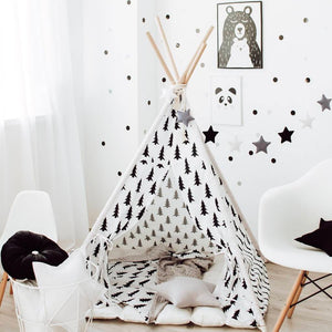 Happy Spaces teepee, monochrome teepee, black and white tent, tent with tree, play tent for kids