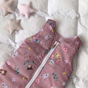 sleeping bag with fairies, swaddle sack for girls, dasty pink sleeping bag,  swaddle sack with princess