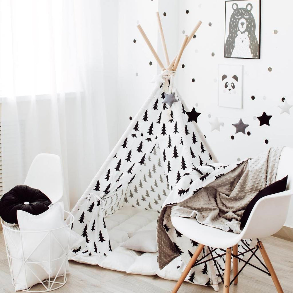 monochrome teepee, wigwam for boys, wigwam for girls, tent, play tent, Happy Spaces teepee
