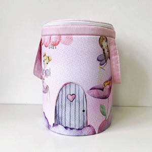 Toy storage basket with fairies panel
