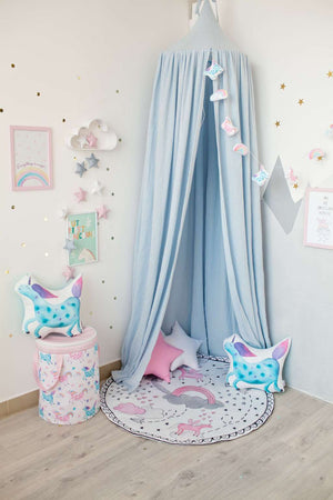 baby room decor with canopy, blue canopy, unicorn bedroom accessories