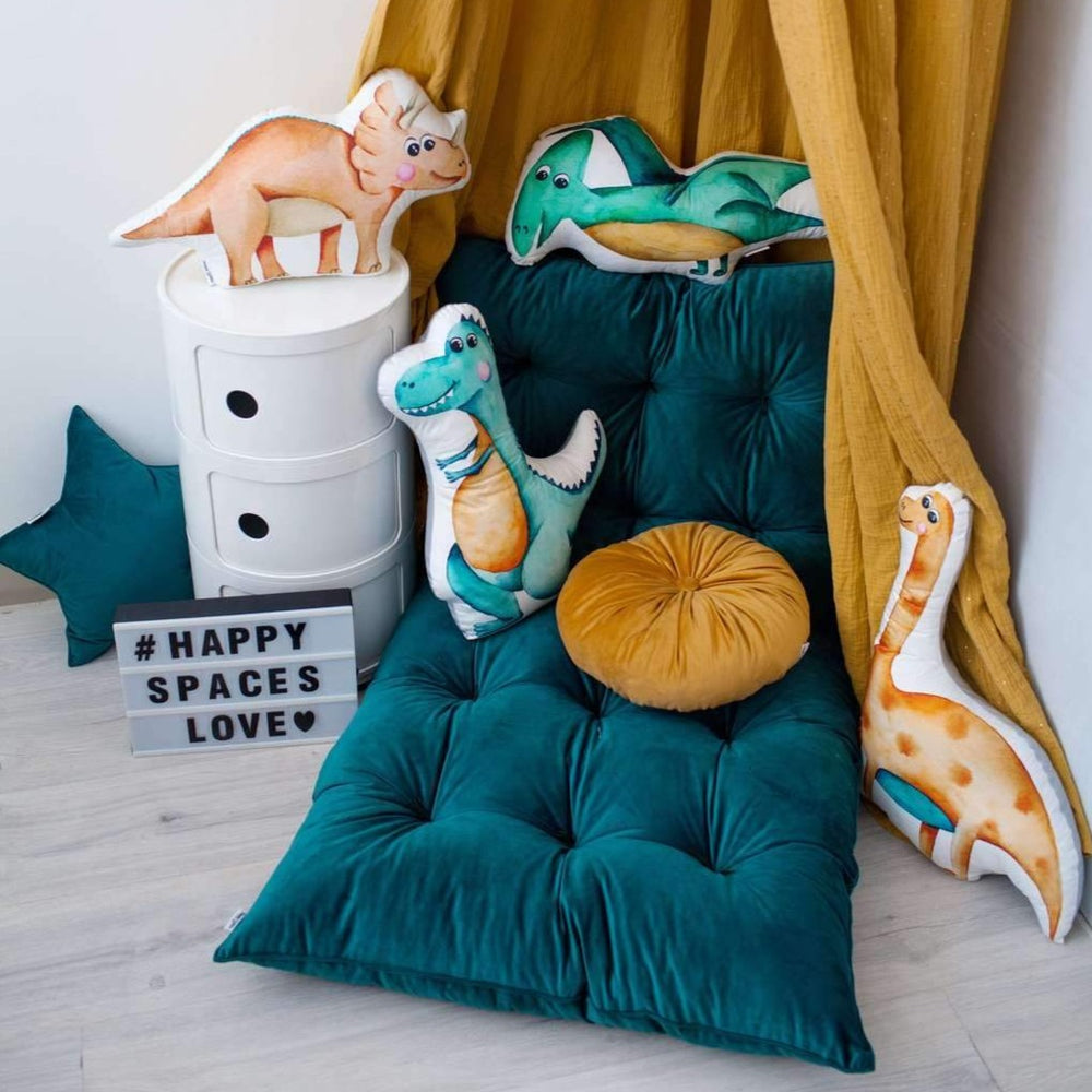 Teal velour rug for baby room decor, nursery decor with teal velour rug, velour rug for boys room, bedroom ideas with teal velour rug, dinosaur bedroom ideas