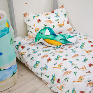 Duvet cover and pillowcase with dinosaurs