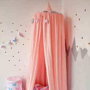 Muslin pink canopy, childrens room with canopy, canopy for girls room, bedroom accessories