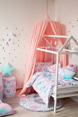 Muslin pink canopy for girls room, girls room decor with canopy, pink canopy, unicorn bedroom accessories