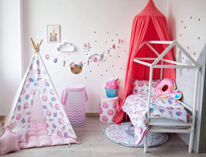 Yummy bedroom ideas with canopy, yummy  room decor, donut, ice cream, cupcake themed bedroom, kids room decor with canopy