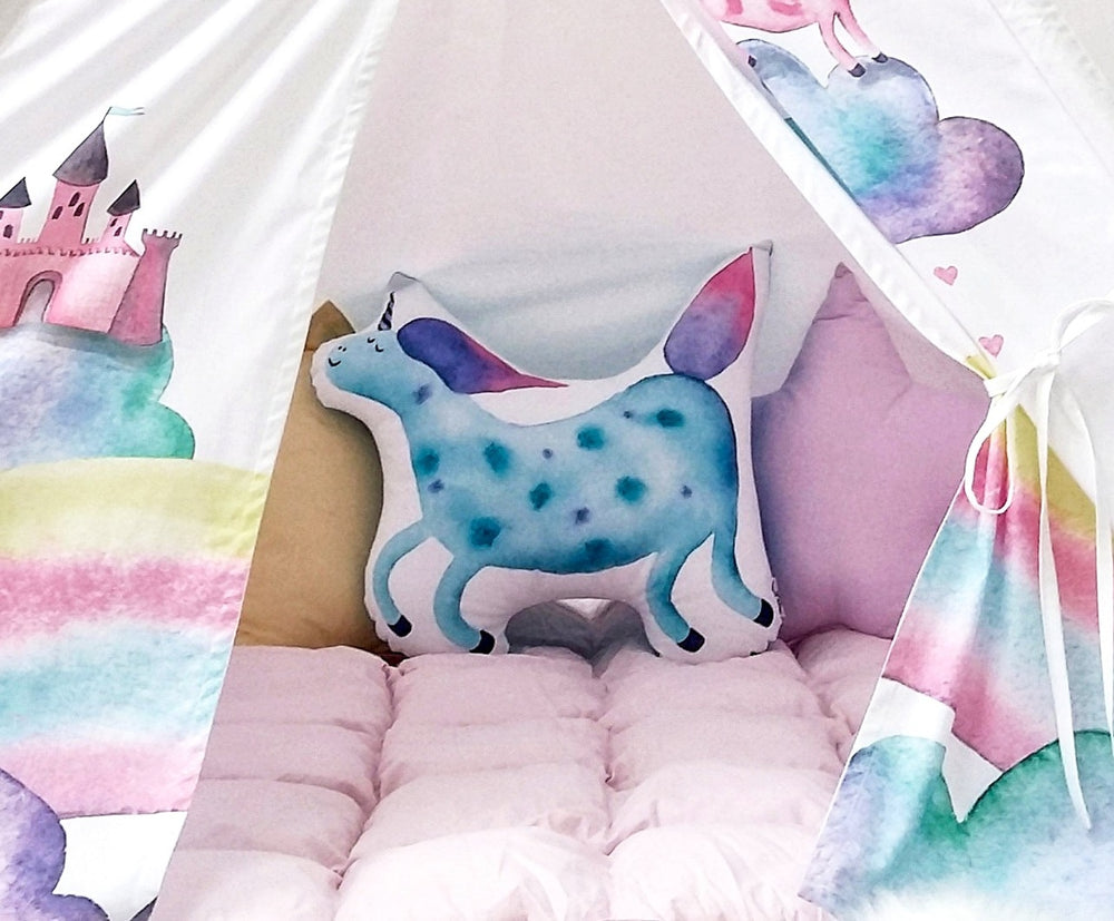 toddler play tent, Happy Spaces teepee, blue unicorn, rainbow