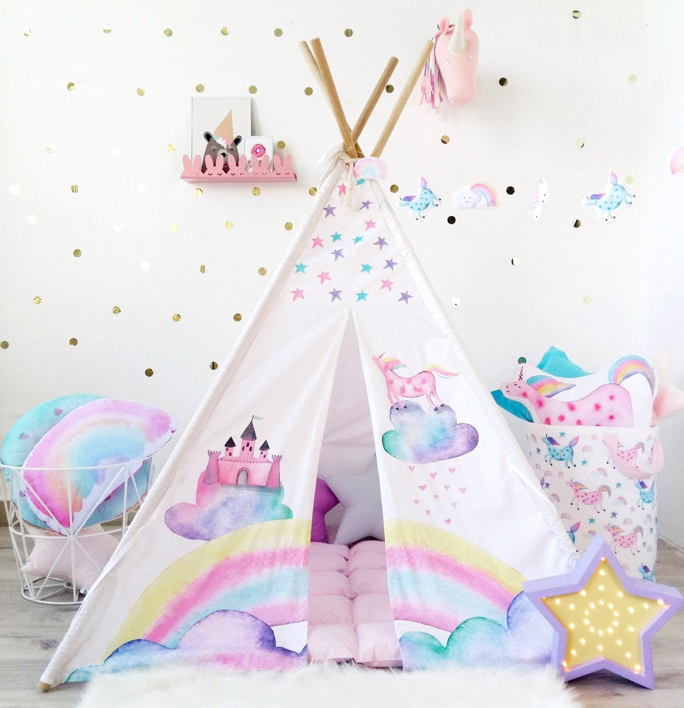girls play tent with unicorn, the unicorn, pink unicorn, blue unicorn, teepee