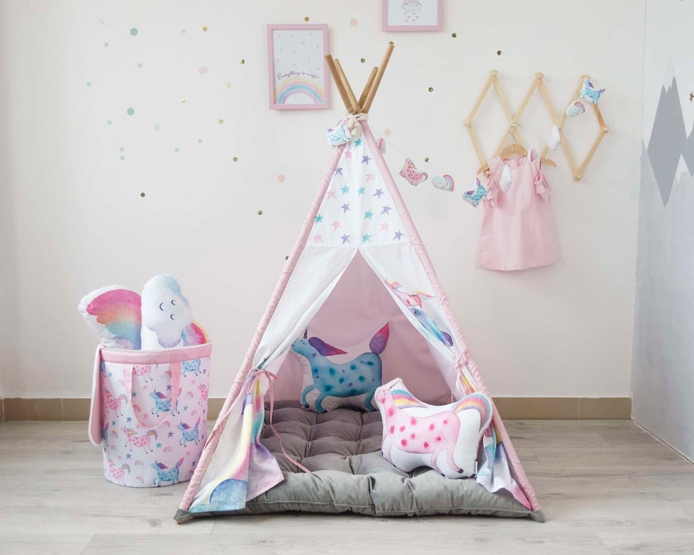 tent for kids, childrens, indoor tent with cloud, play tent with unicorn