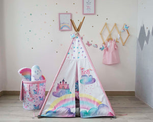 Teepee (wigwam) with castle and unicorn