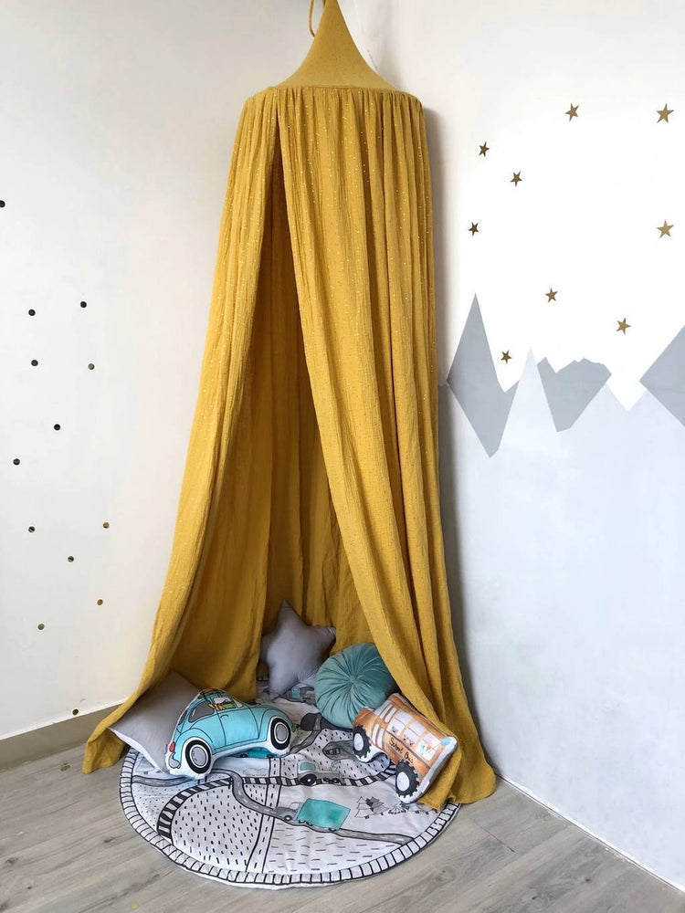 Mustard muslin canopy (with and without golden dots)