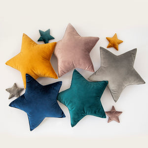 Velor star pillows, stars pillows for kids room, stuffed stars pillow