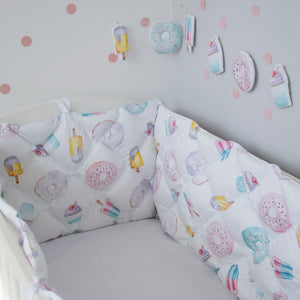 sweety room with quilted crib bumper, cot bumpers with sweety pattern