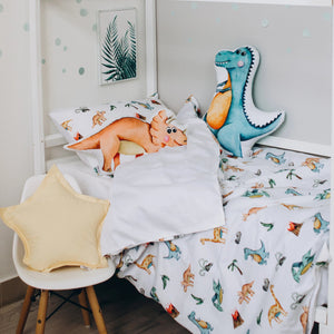 mint bedding, kids bedding for boys, dinosaur bedroom decor, dinosaur bedroom ideas, Happy Spaces bed set, turquoise bed set with T-Rex, pterodactyl, diplodocus, triceraptors