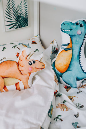 dinosaur pillow, dinosaur room decor, stuffed dinosaur pillow, dinosaur bedroom accessories,Happy Spaces bed set